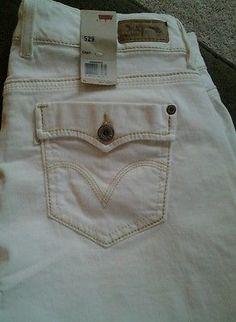 NWT Levis Jeans Womens Juniors Levi's 529 Capri 14 White Denim
