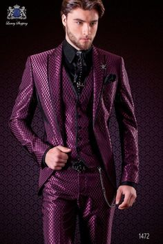 Men may be asked to wear tuxedos to black-tie weddings, but you need a bunch of options at more casual … Purple Prom Suit, Prom Suit And Dress, Purple Suits, Purple Fashion, Suit Fashion, Masquerade Outfit, Masquerade Ball, Wedding Suits, Wedding Tuxedos