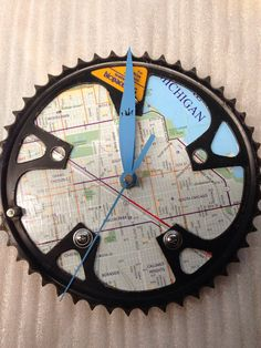 Recycled Bike Chain Ring Clock / Chicago map  by GearsUpDesigns