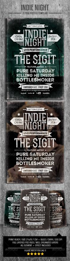 Indie Typography Flyer/Poster  #GraphicRiver         This flyer was designed to promote an Dubstep/ Jazz/ Drum and Bass/ Acoustic/ Techno / Band/ Blues/ HipHop/ Indie/ Rock/ House music event, such as a gig, concert, festival, dj set, party or weekly event in a music club and other kind of special evenings.