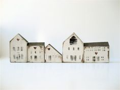 Five Vintage Wooden House Blocks