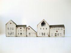 Five Vintage Wooden House Blocks