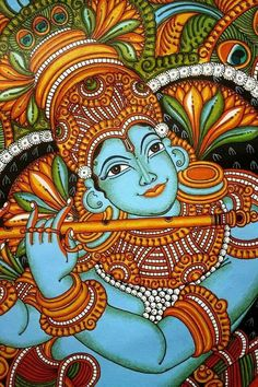 A mural is any piece of artwork painted or applied on canvas or cloth. the picture shows lord krishna playing his flute. Kalamkari Painting, Krishna Painting, Madhubani Painting, Saree Painting, Krishna Art, Lord Krishna, Kerala Mural Painting, Indian Art Paintings, Acrylic Painting Canvas