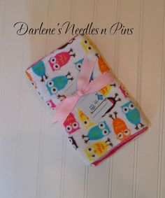Baby Burp Cloths/Minky Pink owls/ Set of 3 by DarlenesNeedlesnPins