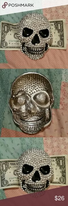 Giant Rhinestone Skull Belt Buckle This is some sort of metal it's heavy certainly not sterling silver maybe a Chrome plated brass I do not know but he's really cool Accessories Belts