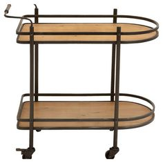 Rounded serving cart with 2 wood shelves and bottom casters.