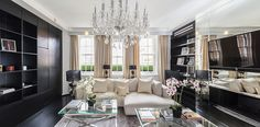 Alexander McQueen house in London, Mayfair, have been under a huge restoration and interior designed into a luxurious duplex penthouse. House Furniture Design, Furniture Decor, House Design, Alexander Mcqueen, Home Living, Living Room Decor, Living Rooms, Mayfair, Celebrity Houses