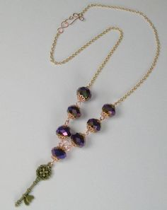 Copper Jewelry Ideas and Tutorials: Crystals, Copper, and Brass Key Necklace