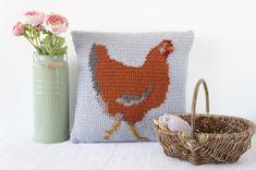 Crochet Pillow Pattern Chicken Cushion Intarsia by LittleDoolally