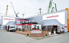 Outdoor-LED Screens und klassische Medientechnik für den Hydraulik-Systemanbieter Hansa-Flex: ein gutes Beispiel für LED-Einsatz im Aussenbereich.