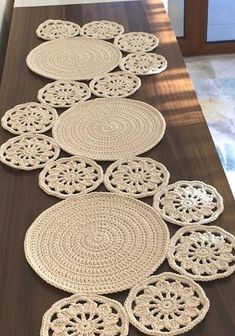 Cute crochet table runner No pattern Table runners and tablecloth vintage boho modern dining room farmhouse lace crochet decorations unique ideas Crochet Table Runner Pattern, Crochet Doily Patterns, Crochet Tablecloth, Crochet Motif, Crochet Doilies, Crochet Stitches, Knitting Patterns, Crochet Bowl, Crochet Round