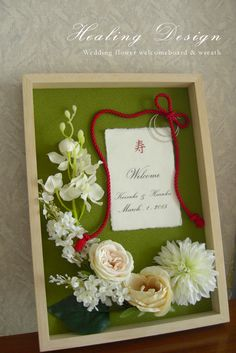 Wedding Kimono Welcome Board (Matcha Green x White Flower) Japanese Wedding Modern / Made to Order – Nicewords Space Wedding, Wedding Paper, Wedding Table, Wedding Cards, Diy Wedding, Wedding Flowers, Welcome Boards, Wedding Kimono, Japanese Wedding