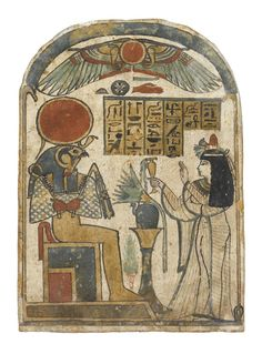 Stela of wood covered with gesso and painted, showing the Housemistress Ta-ka-sab worshipping Ra-Horakhty as a falcon-headed god seated on a throne: Ancient Egyptian, Upper Egypt, from Thebes, Late Period, c. 664 - 332 BC © National Museums Scotland