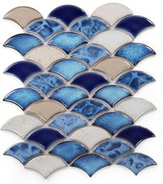 Dragon Scale Blue Porcelain Mosaic (Pool Rated) Size: x Coverage: sqft per piece Thickness: Material: Porcelain Country of Origin: China Application: Wall Only Green Tile Backsplash, Blue Mosaic Tile, Blue Tiles, Swimming Pool Mosaics, Pool Tiles, Scallop Tiles, Fish Scale Tile, Blue Colour Palette, Color Blue