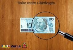 Composição de imagens em uma 'ação fake' contra a falsificação de notas.