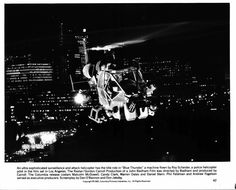 Movie Still / Publicity Photo / Press Kit Promo Title: Blue Thunder Star(s): Roy Scheider Genuine vintage Black and White glossy photograph Approximate size: x x Condition: Very G Helicopter Pilots, Attack Helicopter, Roy Scheider, Press Kit, Scene Photo, Vintage Black, Police, Black And White, Fotografia