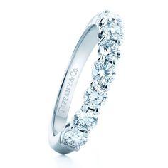 Tiffany & Co. - Tiffany Celebration Platinum Wedding Band with Half-Circle of Round Diamonds   - jewelry womens rings, jewelry womens rings, discount womens jewelry