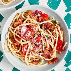 Fat Spaghetti with Bacon and Cherry Tomato Sauce