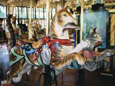 San Francisco Zoo Carousel  Dentzel Cat 2nd and 3rd Row Jumpers  © Aaron Shepard  Date of picture: April 29, 2004