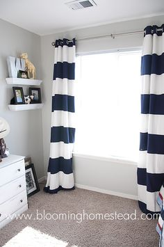 Striped Curtains {How To} - Blooming Homestead --- To put on the floor to ceiling window in the eat in kitchen area! Maybe different color though...