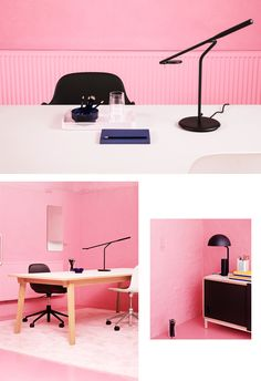 A chic pink office by normann copenhagen - crioll designshop pink hallway, pink Best Interior Design, Luxury Interior, Interior Styling, Office Workspace, Office Decor, Pink Office, Eating Before Bed, Office Furniture Design, Lounge