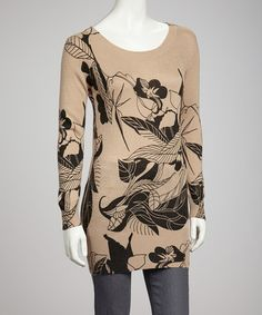 Wheat & Black Floral Sweater by Young Threads