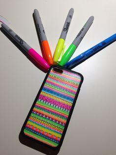 My DIY tribal print phone case! It's soooo bright because I used neon sharpies but I love it