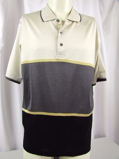 BURBERRY London Mens Striped Golf Shirt Tan Brown Rugby MSRP $99 NEW #BurberryLondon #PoloRugby
