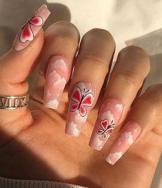 Girls Nail Designs, Latest Nail Designs, Encapsulated Nails, Spring Nail Art, Girls Nails, Rainbow Nails, Beautiful Nail Art, Creative Nails, Love Nails