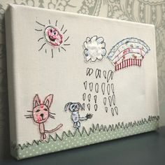Our clever Partner Company 'Ditsy Doodles' can capture your little ones drawings and create an applique canvas artwork. A fabulous keepsake!