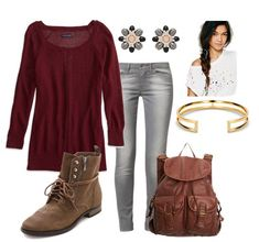 Cute Outfit Ideas of the Week: gray denim, lightweight long sleeve shirt, combat boots and a backpack.