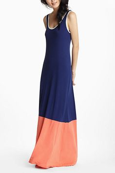 Dip-Dyed Colorblock Maxi Chemise - Anthropologie.com
