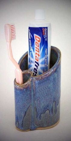 Toothbrush & Paste Holder    Bay Pottery  I have one just like this!