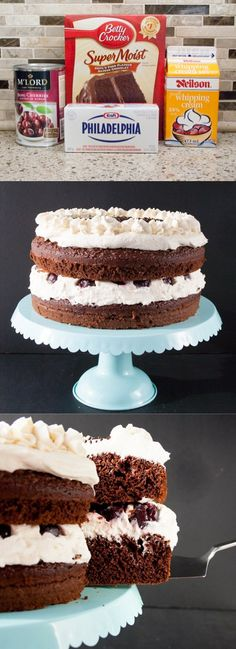 Easy Black Forest Cake Recipe (using cake mix). Only 4 ingredients. Delicious, moist, rich and flavorful. I have made this many time over the years and it is always a hit!