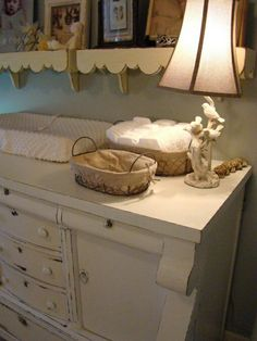 Vintage dresser as changing table...