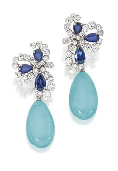 PLATINUM,  18  KARAT  WHITE  GOLD,  SAPPHIRE,  DIAMOND  AND  TURQUOISE  PENDANT-EARCLIPS,  BULGARI. Sotheby's.