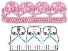 Crochet pattern by Kalliopy Ginis Crochet Border Patterns, Crochet Blanket Edging, Crochet Lace Edging, Applique Patterns, Irish Crochet, Crochet Flowers, Knitting Patterns, Crochet Edgings, Crochet Box