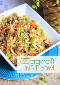 eggroll in a bowl - video - cabbage, carrot, cook, egg, eggroll, garlic, ginger, green onion, healthy, recipes, roll, sauce, soy