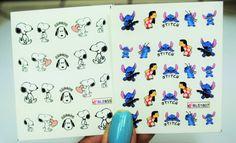 2 sheets Nail Decal, Lilo and stitch Nail Art, Snoopy Nail Design, water transfer, Nail Stickers, Nails,Nail Art