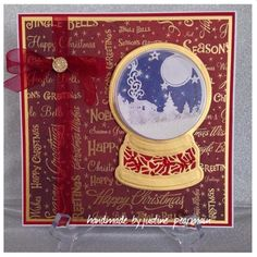 Sue Wilson SnowGlobe with TreatCups and Microbeads! Loved making this card! Handmade Christmas, Christmas Crafts, Christmas Decorations, Christmas Ideas, Christmas Globes, Snow Globes, Xmas Cards, Holiday Cards, Acetate Cards