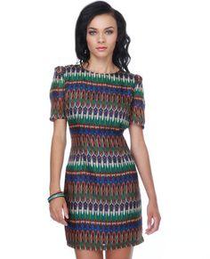 Aryn K Rousseau Jungle Print Silk Dress. $83.00