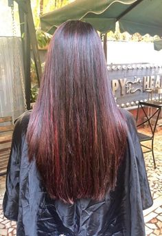 Long Dark Hair, Red Highlights, Gorgeous Hair, Beautiful, Curls, Long Hair Styles, Beauty, Hair, Long Hair
