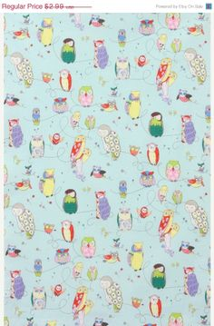 SALE Owl Fabric  SPOTTED OWL in Blue from Alexander door GlamFabrics, $2.72