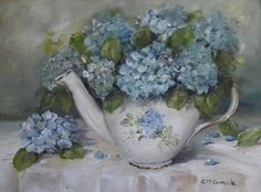 Ready to Frame Print - Hydrangeas in a Blue & White Tea Pot - Postage is included Worldwide Shabby Flowers, Vintage Flowers, Victorian Flowers, Tea Art, Decoupage Paper, Acrylic Art, Botanical Prints, Flower Art, Painting & Drawing