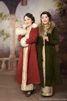 Long fur collared coats.....modern remake (photograph) of vintage Shanghai poster