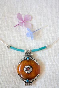 Ethnic Tibetan, copal amber necklace amulet pendant silver Tibetan Ghau, Boho, Choker Gypsy - pinned by pin4etsy.com