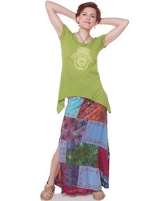 NEW! Patch of Summer Sky Skirt - like that magic patch of summer sky that can put you in a trance, this patchy skirt is made of some passionate colors. #fairtrade #unique #patchwork #soulflower