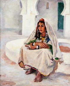 Algérie - Peintre Français  HEBUTERNE Andre ( 1894-1979 ), huile sur toile, Titre: Jeune fille assise