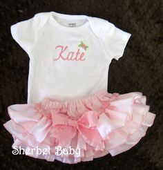 $50 Long OR Short Sleeve Bodysuit  and Sassy Pants Ruffle Diaper Cover Set  Monogrammed with your choice of lettering
