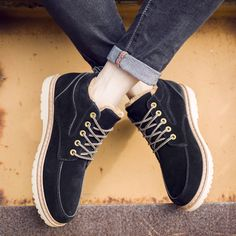 Lace Up Round Toe Nubuck Leather Ankle Short Boots For Men
